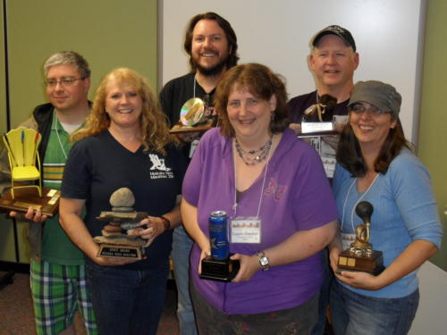 Voted Peer Awards... In back row: Michael Codata (BIC), Tobin Elliot (Techie), Dale Long (Rookie); in front row: Lori Twining (Spirit), Lenore Butcher (Rockstar) & Pat Flewwelling (Most Prolific). Great job, writers!