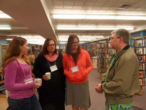 Heavy conversations about writer retreats & events. ~ Shellie, Tena, Tara and Michael.