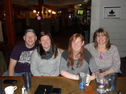 """Dale and his beautiful family, Emily, Rebecca & Sue ~ Author Lunch at """"The Cottage Waterfront Grill""""."""