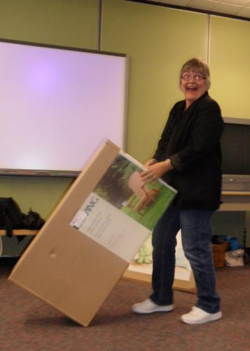 Ruth seems very happy about taking home a Muskoka Chair prize!