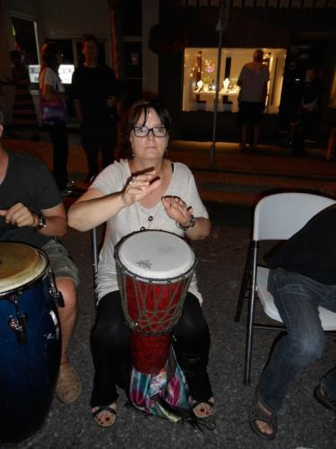 Brenda Storrie found a drum to play at Nuit Blanche. She has quite the rhythm. :)