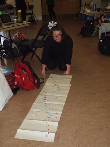 Tena mapping out her novel plot. ~ Photo by Lori Twining