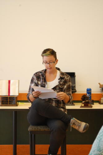 """Kathleen May reads from her manuscript """"Crack"""" which received honourable mention in the Adult Novel category"""